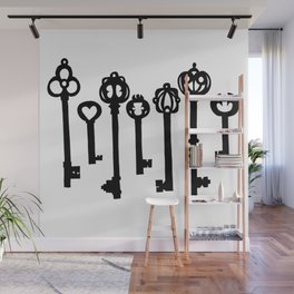 Black Ink Keys Illustration Wall Mural