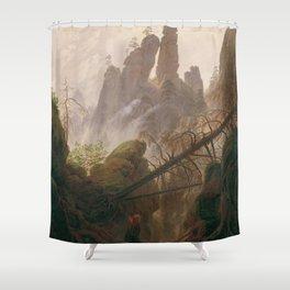 Caspar David Friedrich - Rocky ravine in the Elbe Sandstone Mountains Shower Curtain