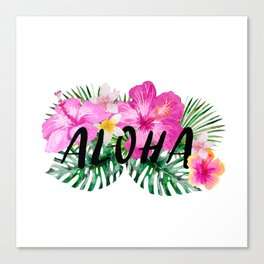 ALOHA - Tropical Flowers, Palm Leaves and Typography Canvas Print