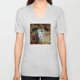 Fur texture Velvet Underground art-punk inspired Pitbull with floral in rich red and grey Unisex V-Neck