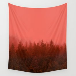0388 Chocolate Forest with Living_Coral Fog, AK Wall Tapestry