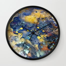 When Planets Align watercolor abstract by CheyAnne Sexton Wall Clock