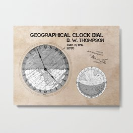 Geographical clock dial Thompson patent art Metal Print