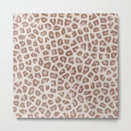 Abstract hipster brown white cheetah animal print Metal Print
