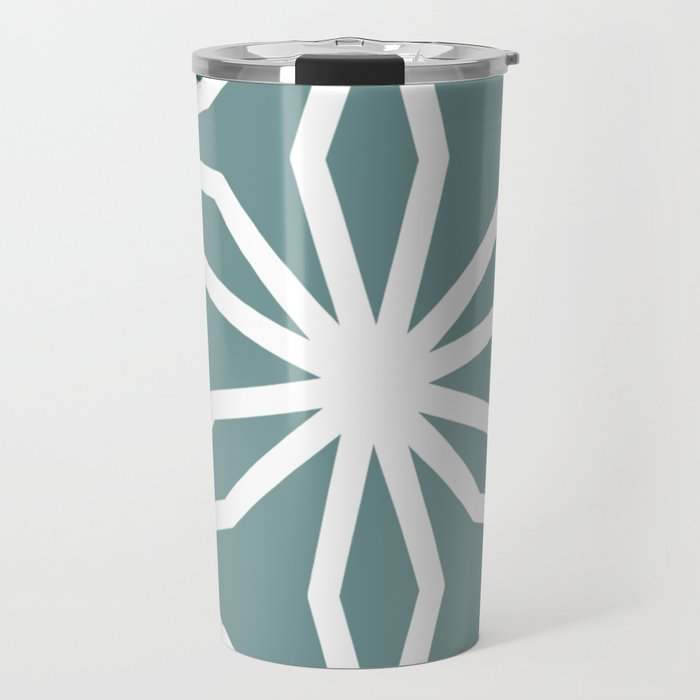 CUBIC FLOWER PATTERN - blue Travel Mug