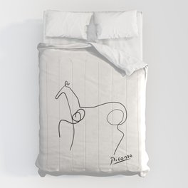 Abstract horse one line contemporary, minimal art Comforters