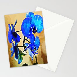 Painted Blue Orchid Stationery Cards