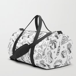 Fast Food Hamburger Fries Hot Dog Chicken Pizza and Noodle Pattern Duffle Bag