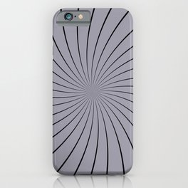 3D Pantone Lilac Gray with Black Thin Striped Circle Pinwheel iPhone Case