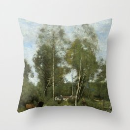 "Jean-Baptiste Camille Corot ""Clearing Pierre du Bois, the Évaux near Chateau"" Throw Pillow"