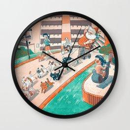 Cat Sled Santa Wall Clock