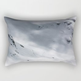 Snow Mountains of Switzerland with Skiers Travesing Rectangular Pillow