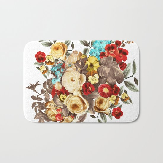 Watercolors Floral Pattern Bath Mat