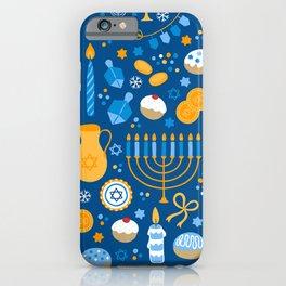 Hanukkah Happy Holidays Pattern iPhone Case