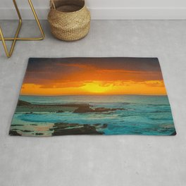 Sunset over childrens pool Rug