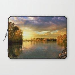 Autumn Foliage and Sunrise along the riverside landscape Laptop Sleeve