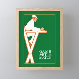 Game set and match retro tennis referee Framed Mini Art Print