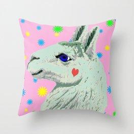 Lucky Llama Throw Pillow