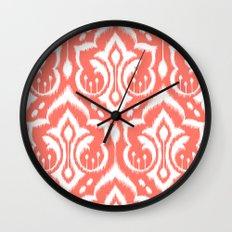 Ikat Damask Coral Wall Clock