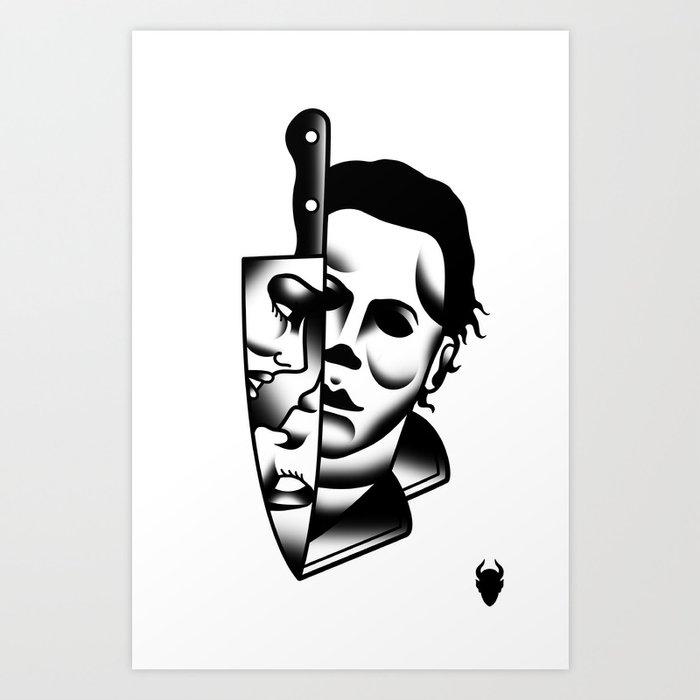 Halloween Mike Tattoo Flash Art Print by derickjames | Society6