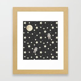 Space - Stars Moon and Astronauts on black Framed Art Print