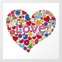 Heart love illustration Art Print