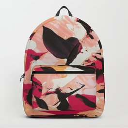 Bloom where you are planted | pink black coral abstract acrylic painting Backpack