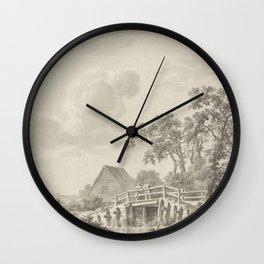 Barend Cornelis Koekkoek - Landschap aan een duinrand met een visser Wall Clock