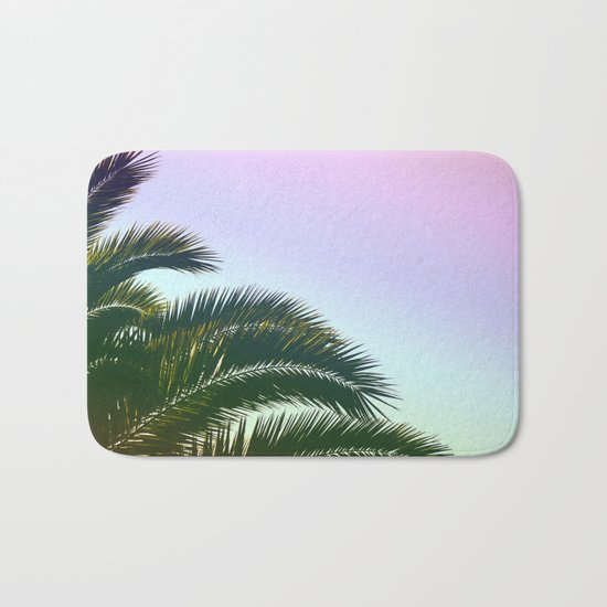 Palm Leaves  - Tropical Sky - Chilling Time Bath Mat