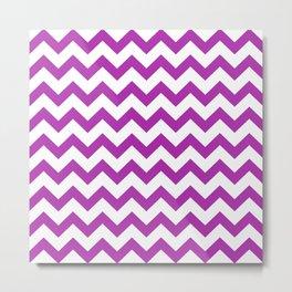 Chevron (Purple & White Pattern) Metal Print