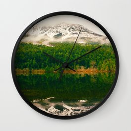Mid Century Modern Round Circle Photo Graphic Design Reflective Snow Mountain Green Forest Wall Clock