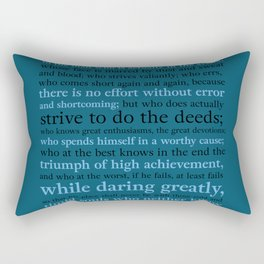 It's Not the Critic That Counts / Blue Rectangular Pillow