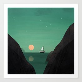 Ship at Dawn Art Print