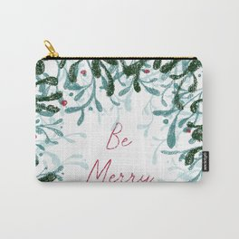 Be Merry and Bright - mistletoe design Carry-All Pouch