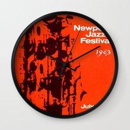 1963 Newport Jazz Festival Vintage Advertisement Poster Newport, Rhode Island Wall Clock