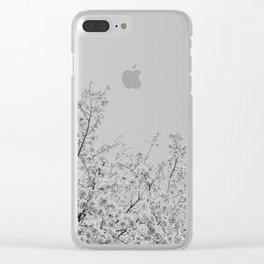 Cherry Blossoms (Black and White) Clear iPhone Case