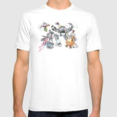 Bolts Vs. Bots MEDIUM Mens Fitted Tee White