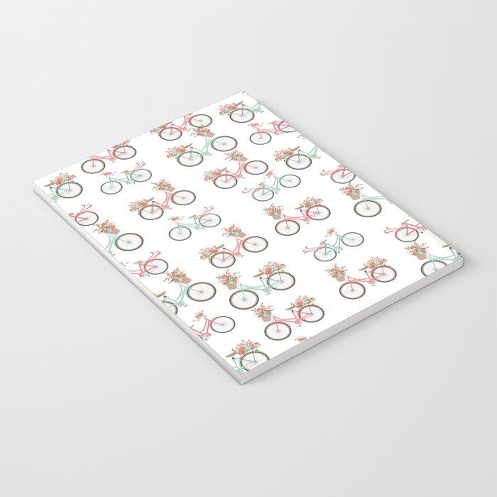 vintage pastel pink coral bicycle floral pattern Notebook