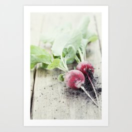 Radishes with leaves on wooden background Art Print