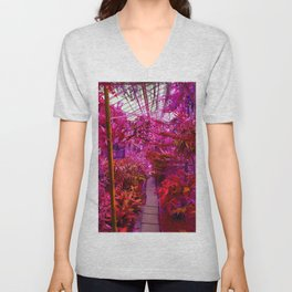 Tropical Green House - Pink Palette  Unisex V-Neck