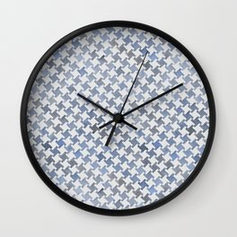 MODERN HOUNDSTOOTH (BLUE), hand-painted by Frank-Joseph Wall Clock