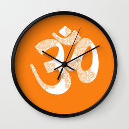 Start your day with OM on Orange Colour Wall Clock
