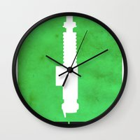 jedi Wall Clocks featuring Vintage Jedi by Fletcher McKinney
