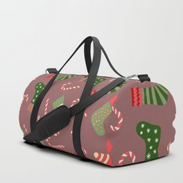 Hand painted green red white Christmas socks candy pattern Duffle Bag
