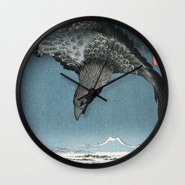 Raven Over Winter Landscape Wall Clock