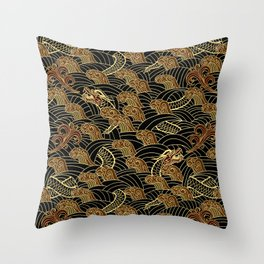 chinese sea serpent pattern dark version Throw Pillow