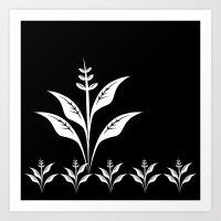 Black and White Flower Plant  Art Print