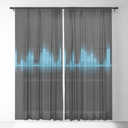 Blue Graphic Equalizer on Black Sheer Curtain