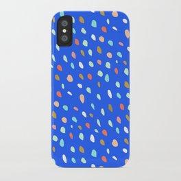 Blue Party Paint Dots iPhone Case