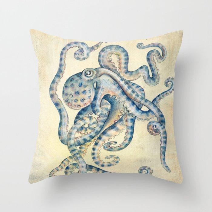 Blue Octopus Deko-Kissen